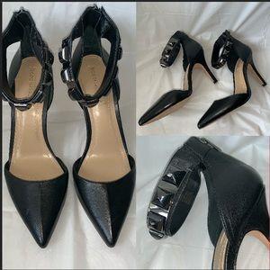 BCBG MaxAzria Black Leather Pointed Jewel Heels